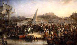 Lukisan Napoleon saat meninggalkan Pulau Elba